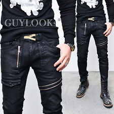 Designer Homme Mens Wax Coat Slant Dual Zip Pocket Black Skinny Jeans Guylook