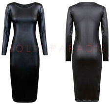 Ladies Wet Look Midi Dress Womens Faux Leather Stretch Bodycon Plus Size 16-26
