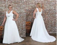 Elegant Off Shoulder Plus Size Wedding Dresses Chiffon Bridal Gowns Custom Made