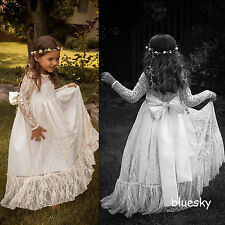 Crew neck Long Sleeve Lace Flower Girl Dresses Wedding Bridesmaid Party Gown New