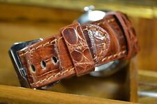 MA WATCH STRAP 22MM REAL CROCODILE LEATHER PADDED ALLIGATOR SPAIN CROCO-P.HAVANA