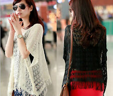 Crocheted Cut Out Cape Sweater Top Tassel Hem Knit Poncho Blouse White S M #Y66