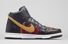 "Nike Dunk High Premium 716714-002  Black Gold Men Sneakers ""Tiger Camo Ostrich"""