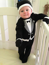 Baby Boy BNWT Tuxedo,hat & gloves.Dinner Suit Christening Wedding Party Outfit.