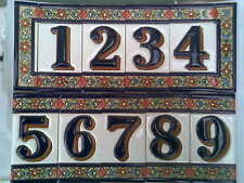 Hand Painted Spanish Ceramic Number Letter Tiles for House Sign Plaque 11 cms