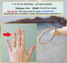 9ct Gold Toe Ring, Midi Ring, Band Ring, 1mm. All sizes