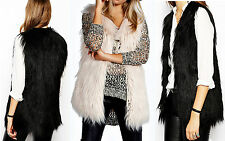 NEW LADIES BLACK SHERPA LINED SOFT FAUX FUR LONGLINE GILET TOP WAISTCOAT JACKET
