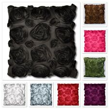 FAUX SILK LUXURY SATIN ROSE CUSHIONS COVERS Sofa Bed Floral Cushion Covers