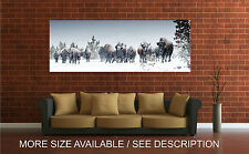 Wall Art Canvas Print Picture Buffalo Bison Herd Winter Yellowstone-Unframed