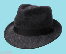 Trilby Fedora Mixed Dark Grey 100% Wool Hat