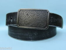 Western Style Jean Brushed Black Real Leather Belt