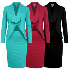 Womens Fitted Office Big Lapel Collar Stretch Casual Slim Blazer&Skirt Suit Set