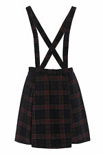 NEW WOMENS BRACE SKIRT DUNGAREE NAVY TARTAN CHECK SKATER SKIRT 8 10 12 14