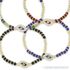 Evil Eye Turkish Nazar Greek Luck Charm CZ Crystal Faceted Bead Stretch Bracelet