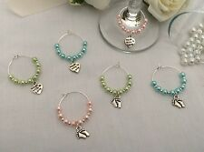 6 Wine Glass Charms Baby Shower Hen Party Wedding Favours Heart Bride Groom NEW