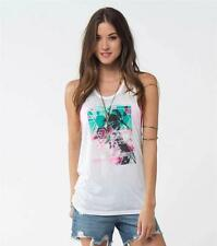 O'Neill Wind & Sea Graphic Tank Top Womens White Cotton Blend Racerback New NWT