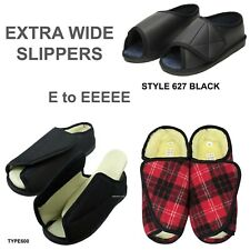 LADIES MENS WOMENS VELCRO EXTRA WIDE DIABETIC SLIPPERS SIZE 3 - 12 Fleece Lined