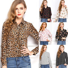 Women Floral Chiffon Long Sleeve Tops Button Down Shirt Casual Blouse T-Shirts