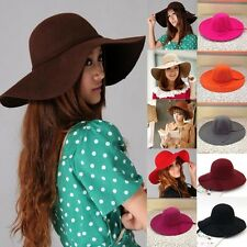 Ladies Vintage  Wool Felt Bowknot Floppy Cloche Bowler Fedora Wide Brim Hats