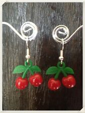 Rockabilly  RED CHERRY BOMB Earrings Silver Plated  Kitsch Kawaii Retro Celeb