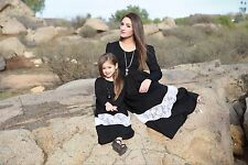Mommy and Me Matching Women Baby Girls Black Lace Dress Set of Two