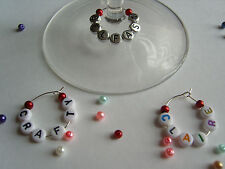 1 6 12 or 25 Personalised Wine Glass Charms - Pearls - Wedding / Party Favours