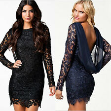 Sexy Women Lady Lace Crochet Backless Chiffon Party Evening Cocktail Club Dress