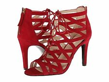 NINE WEST AUTHORITY RED SUEDE OPEN TOE ZIPPER WOMEN SANDAL MULTISIZE AS217