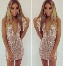 Stunning Sexy Women Plunge V Neck Luxury Sequins Bodycon Cocktail Party Dress B