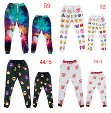 Unisex Harajuku 3D 100 Emoji Emotion Space galaxy Maple Dance sport jogger pants