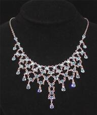 Austrian Crystal Silver Necklace and Earring Set AB Pink Onyx Aqua