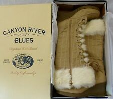 Canyon River Blues Women's Boots Sizes 9 or 10 NIB Faux Fur Trim over Suede