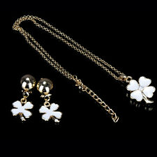 Four-leaf Clover Necklace Earrings Set Resin Black/ White Leaves Design Jewelry