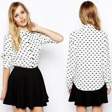 Lovely Women Cloud Tops Button Down Collared T Shirt Slim Casual Career Blouse B