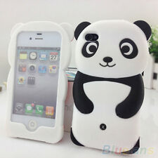 Cute 3D Panda Soft Silicone Protective Back Case Cover Skin For iPhone 4 4S 5 5S