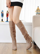 2013 Women's Faux Suede Mid Calf Knee High Long Boots Platform High Heel Shoes