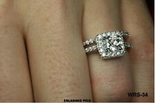 AMAZING 6MM PRINCESS SQUARE CUT CZ STERLING 925 ENGAGEMENT RING WEDDING RING SET