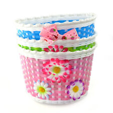 Bike Flowery Front Basket Cycle Bicycle Shopping Stabilizers Children Kids Girls