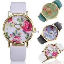 Casual Leather Women Geneva Rose Flower Watch Dress Quartz Clock Wrist Watch