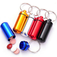1x Aluminum Waterproof Nice Gift Waterproof Drug Pill Box Case Holder Key-chain