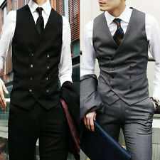 Black/Gray Mens Clothes Casual Double Breasted Slim Fit Tuxedo Vest Waistcoat