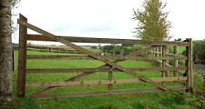 YORKSHIRE WOODEN 5 BAR DIAMOND BRACED FIELD FARM GATE CHOOSE SIZE LARCH DRIVEWAY