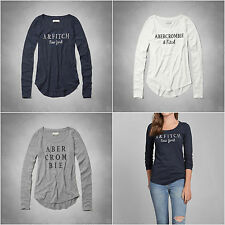 ABERCROMBIE & FITCH WOMEN'S NEW LOGO EMBROIDERY TEE SIZES XS , S , M , L