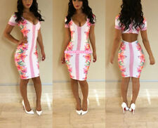 Women Sexy Backless Short Sleeve Floral Bandage Bodycon Clubwear Party  Dress