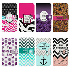 Customized Monogram Name Leopard Wallet Flip PU Leather case For iPhone 6 6Plus
