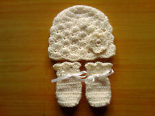 Handmade Crocheted Baby Girl Flower Hat & Mitts 100% Acrylic  various colours