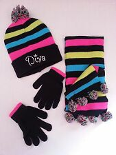 "WINTER 3 PC DOUBLE KNITTED HAT, SCARF & GLOVE SET WITH ""DIVA"" EMBROIDERY ON HAT"