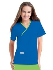 Scrubs Urbane Scrubs Womens Double Pocket Crossover Top 9534 ROYAL BLUE/LIME