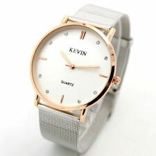 KEVIN Silver Band Simple Style Quartz Wrist Watch Stainless Steel For Men Ladies