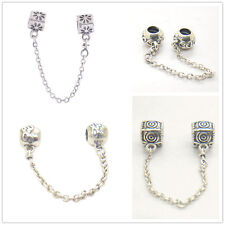 New 925 Sterling Silver Love Heart Connection Safety Chain Charm beads